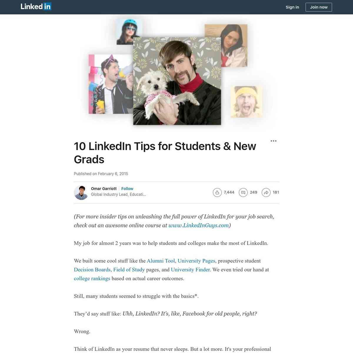 Linked In tips for students & new grads