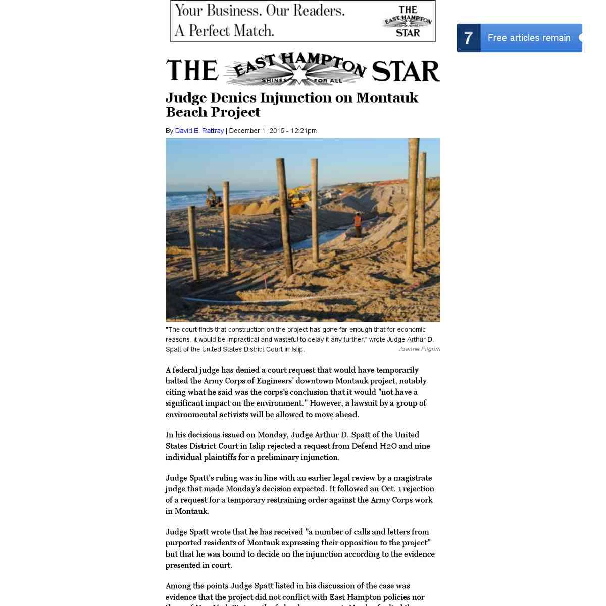 Judge Denies Injunction on Montauk Beach Project