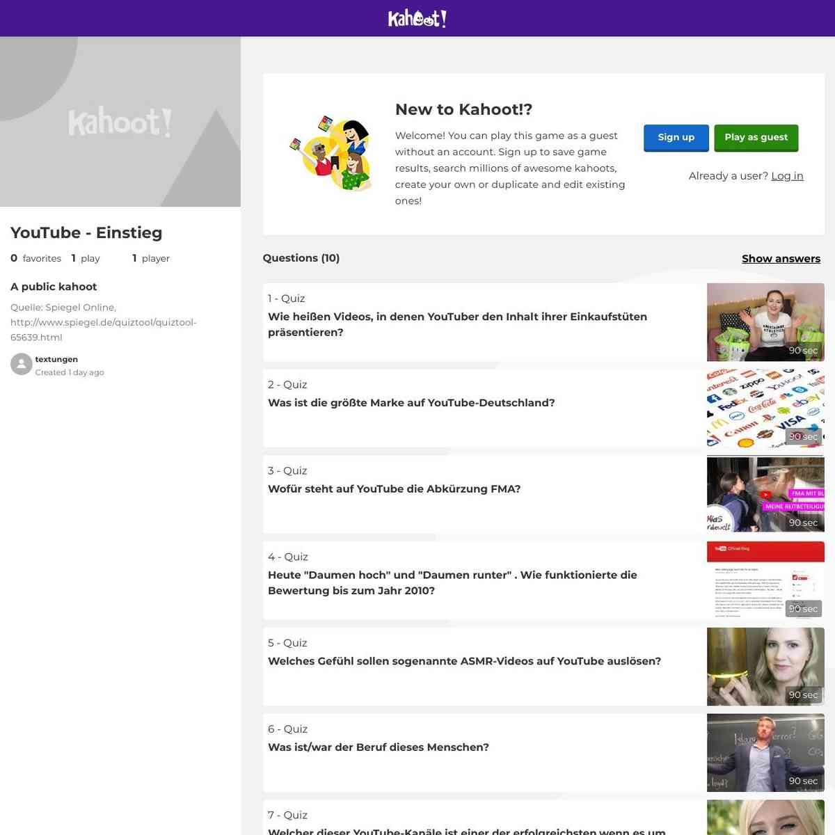 Kahoot Quiz YouTube