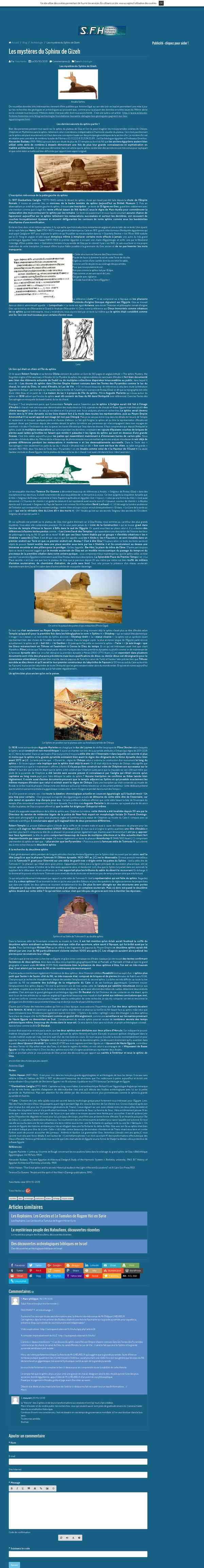 Les mystères du Sphinx de Gizeh