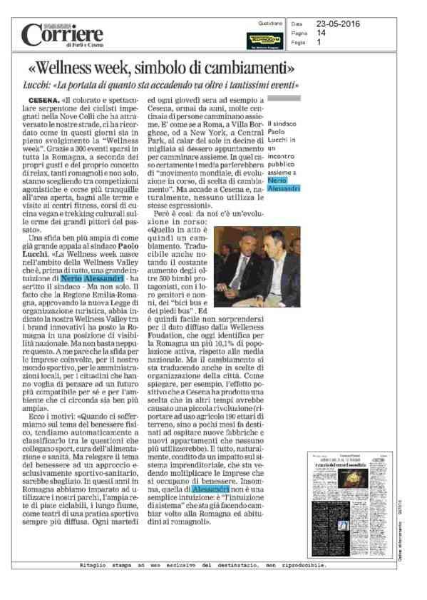 Wellness week, simbolo di cambiamenti - Corriere Romagna - 23/05/2016