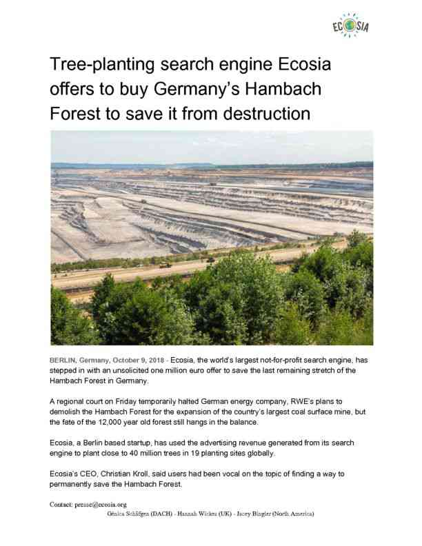 October 2018 Ecosia makes offer to buy Hambach Forest