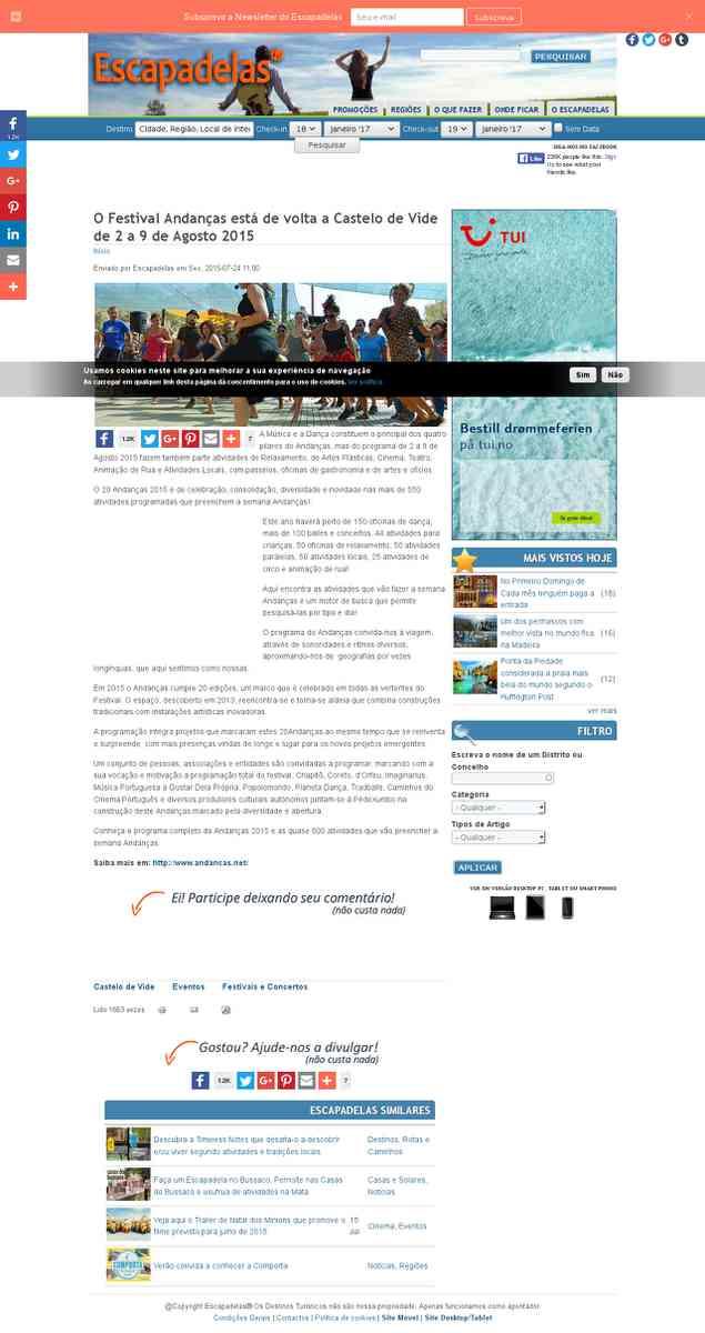 O Festival Andanças está de volta a Castelo de Vide de 2 a 9 de Agosto 2015 | Escapadelas