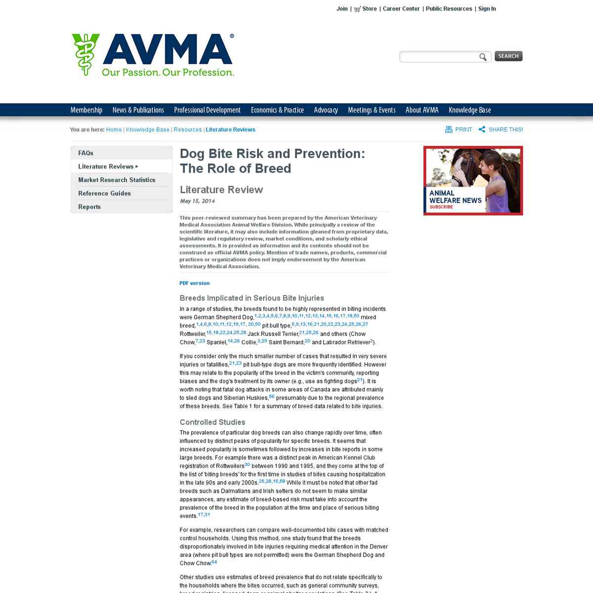 AVMA's paper reviewing research on BSL