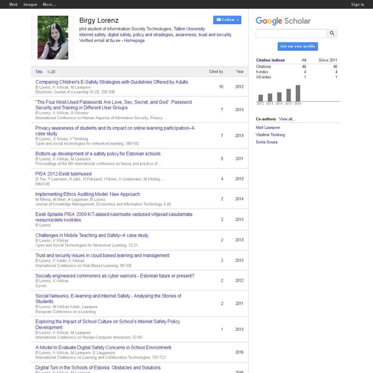 Birgy Lorenz - Google Scholar Citations