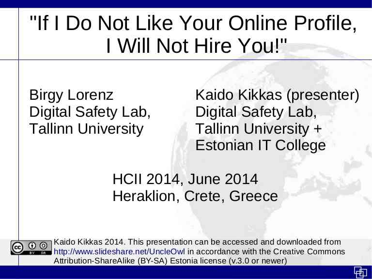 """If I Don't Like Your Online Profile, I Will Not Hire You!"""