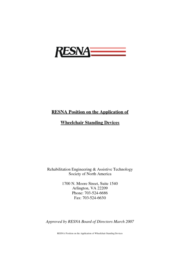 Resna Position on Wheelchair Standers