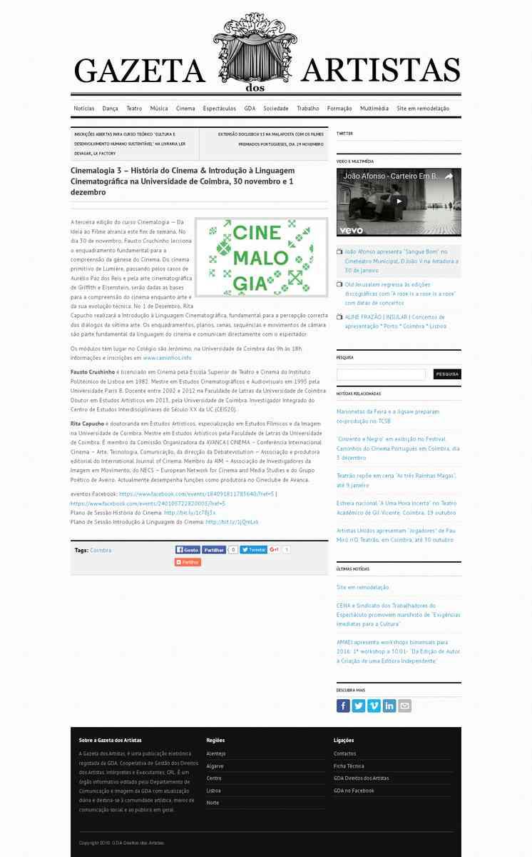 Cinemalogia 3 – História do Cinema & Introdução à Linguagem Cinematográfica na Universidade …