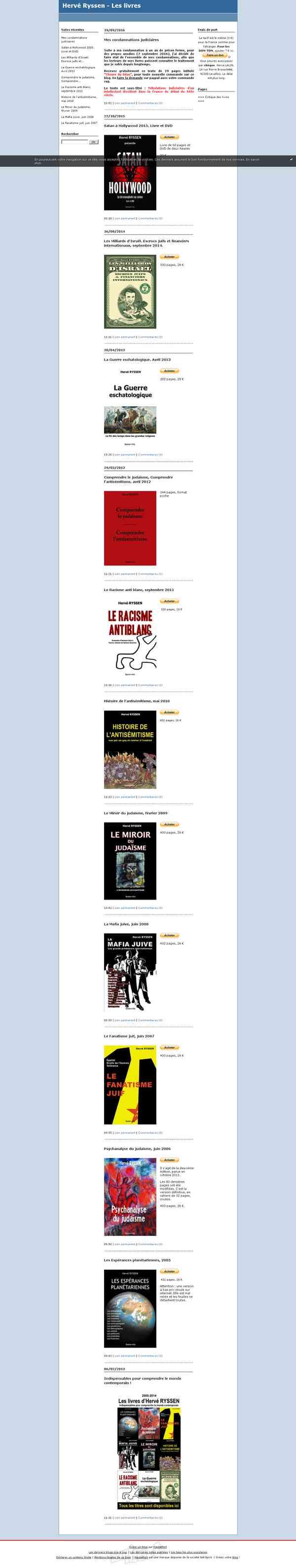 Hervé Ryssen - Les livres