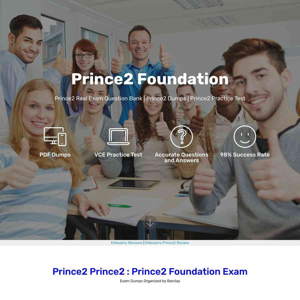 100% free dumps of Prince2 exam provided by killexams.com