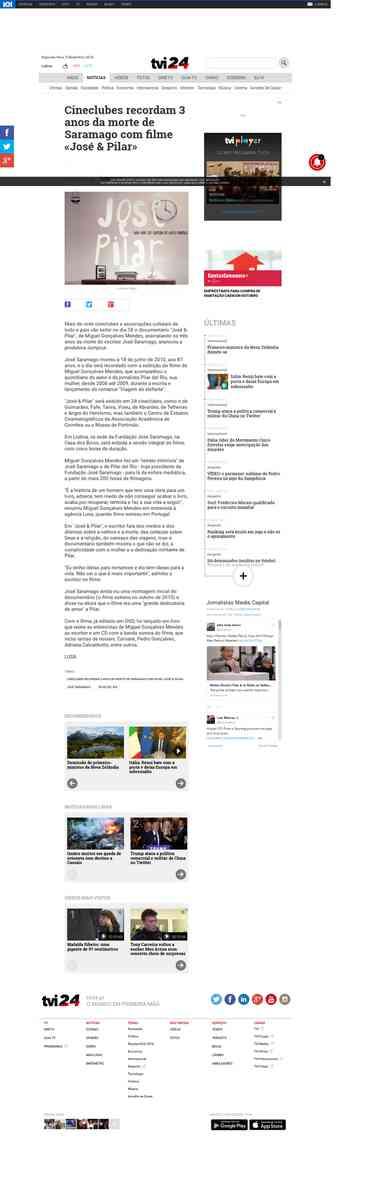 Cineclubes recordam 3 anos da morte de Saramago com filme «José & Pilar» | TVI24