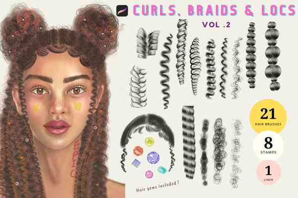 Procreate Hair brushes Curly Hair