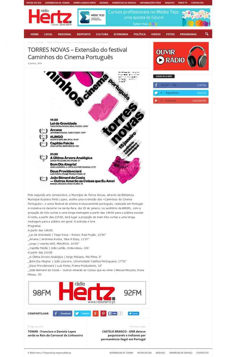 Torres Novas – Extensão do festival Caminhos do Cinema Português | Rádio Hertz