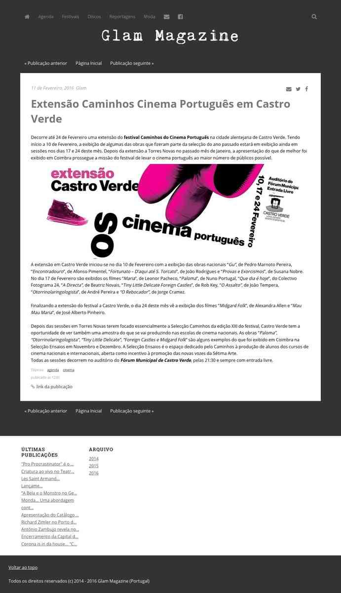 Extensão Caminhos Cinema Português em Castro Verde | Glam Magazine