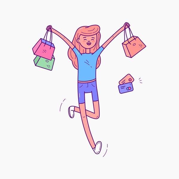 $ Zaap! Illustration Kit | Shopping girl