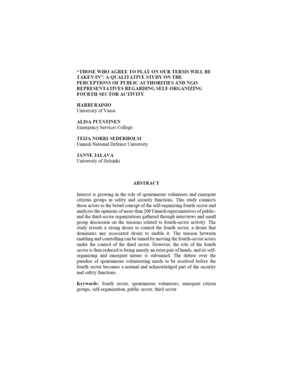 """RESEARCH ARTICLE: """"THOSE WHO AGREE TO PLAY ON OUR TERMS WILL BE TAKEN IN"""": A QUALITATIVE STUDY ON T…"""