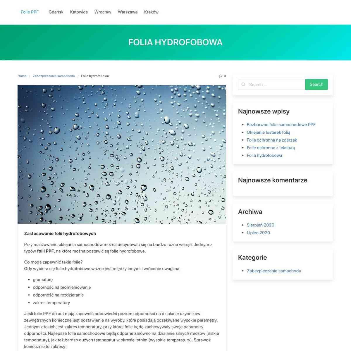 Folia hydrofobowa – Folie PPF