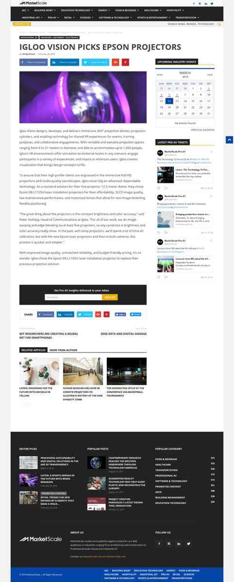Igloo Vision Picks Epson Projectors