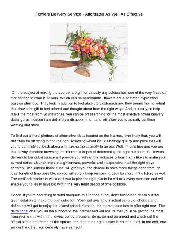 FlowersDeliveryService-AffordableAsWellAsEffective
