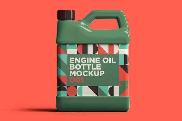 $ Engine Oil Bottle Mockup