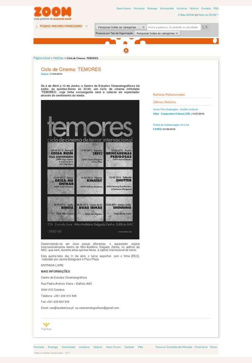 Ciclo de Cinema: TEMORES | Zoom
