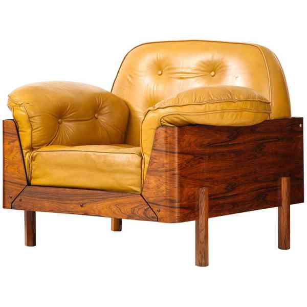 Lounge Chair in Jacaranda and Yellow Leather by J.D. Moveis e Decoracoes — WEINBERG MODERN