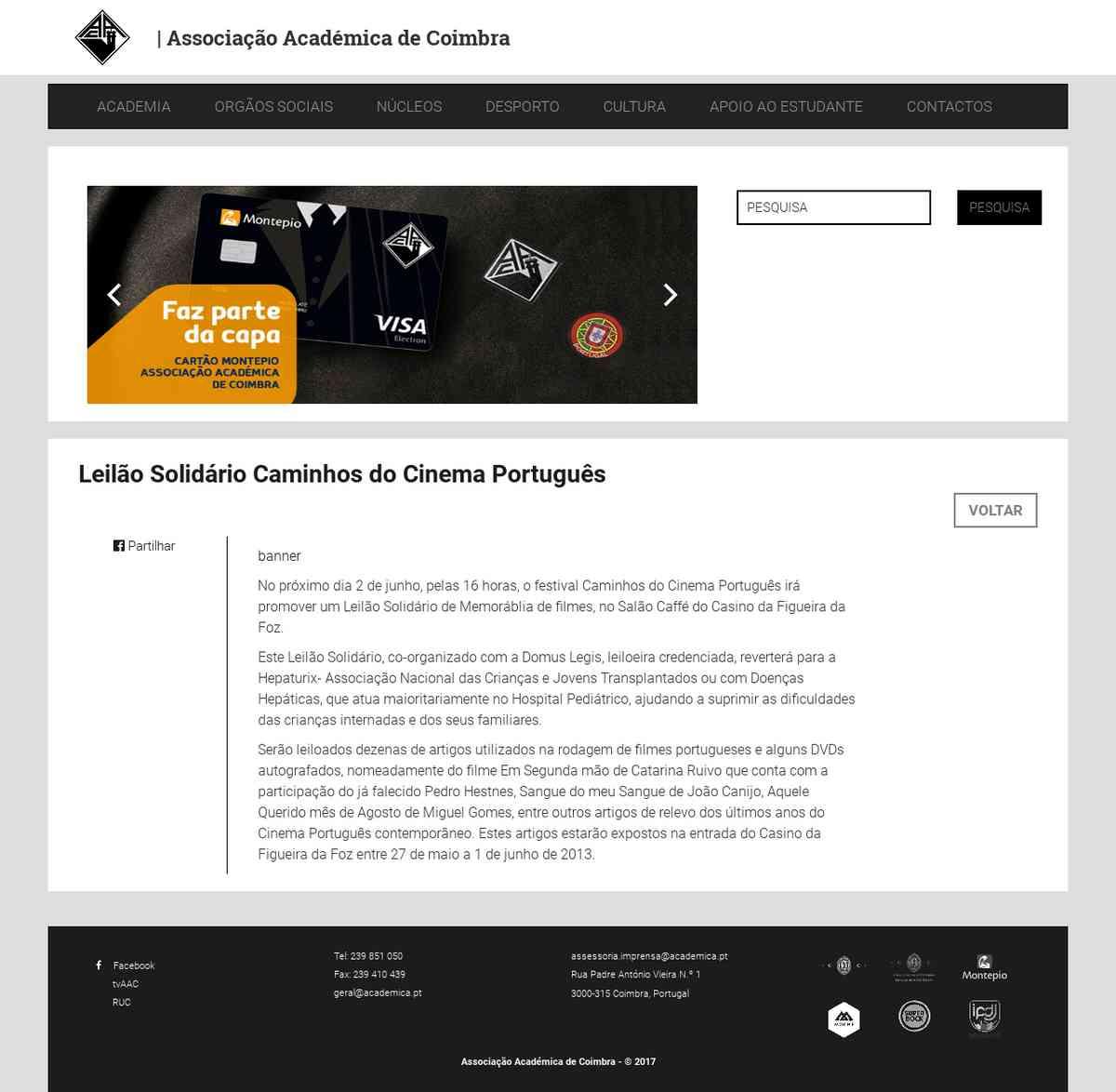 Leilão Solidário Caminhos do Cinema Português | Associação Académica de Coimbra