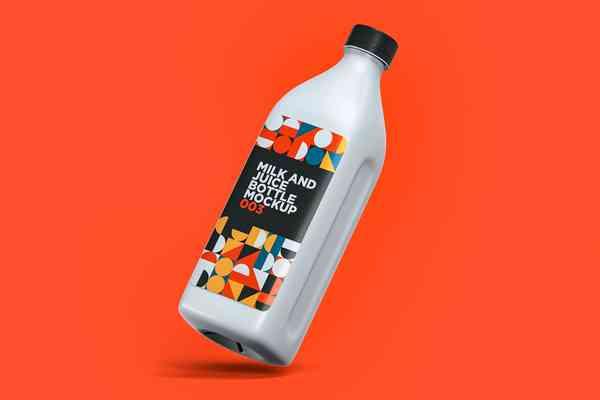 $ Milk And Juice Bottle Mockup 003