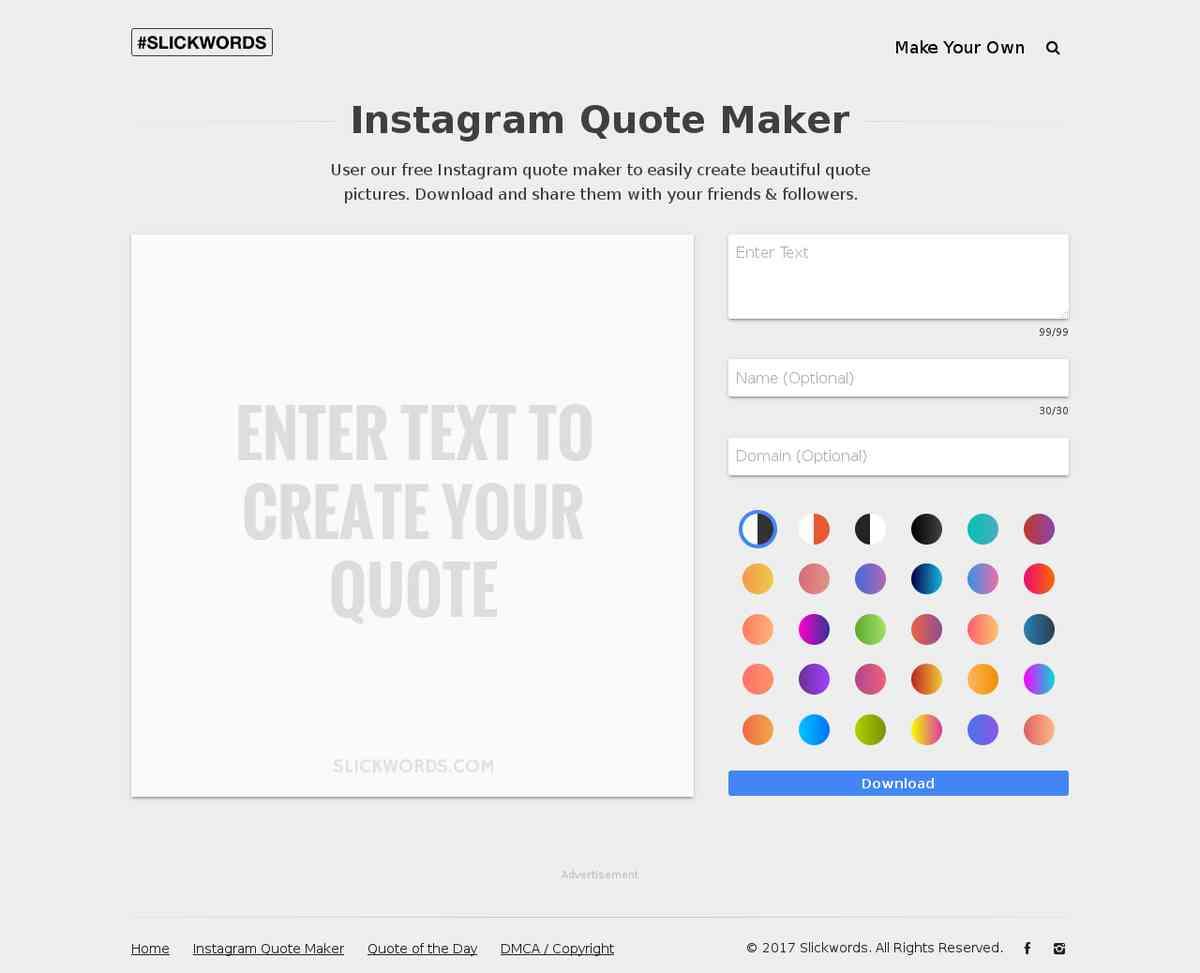 Instagram Quote Maker Slickwordsinstagramquotemaker  Edit Imagen Y Vídeo Online