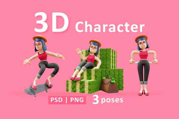 $ Lady. 3D Cute Lady Cartoon With Three Poses