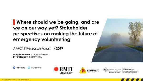 SLIDES: AFAC19 Where should we be going and are we there yet?