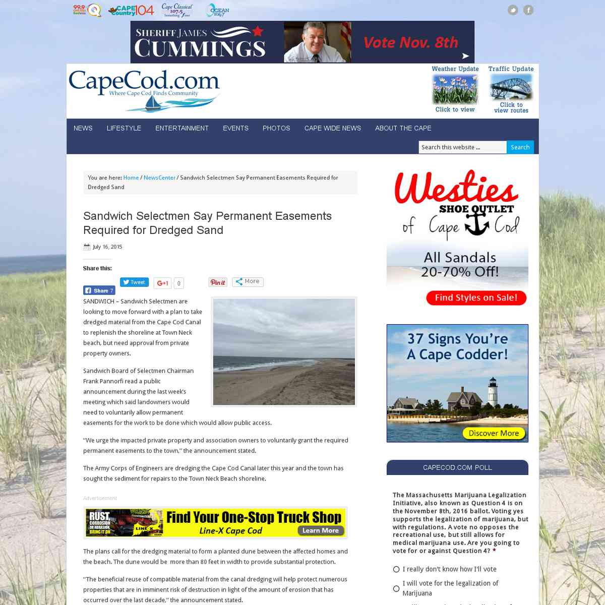 Sandwich Selectmen Say Permanent Easements Required for Dredged Sand
