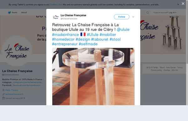 """La Chaise Française en Twitter: """"Retrouvez La Chaise Française à La boutique Ulule au 19 rue de …"""