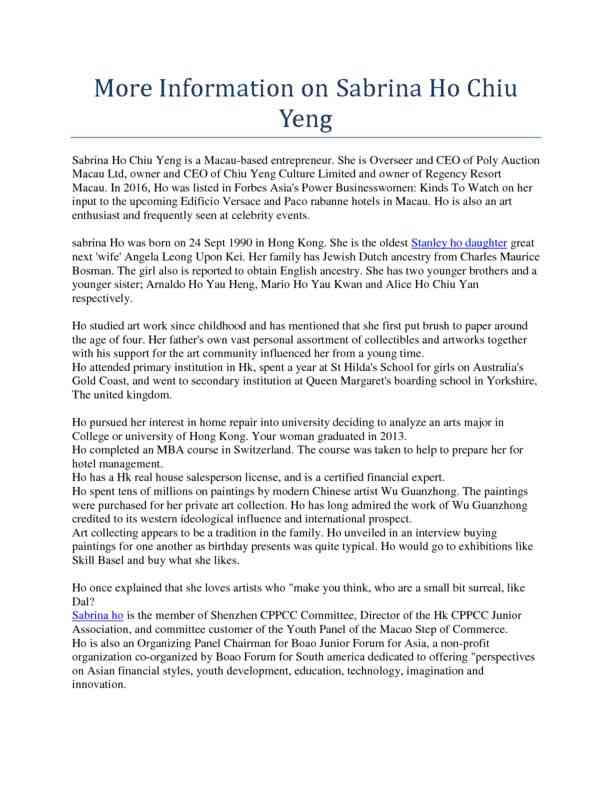 More Information on Sabrina Ho Chiu Yeng