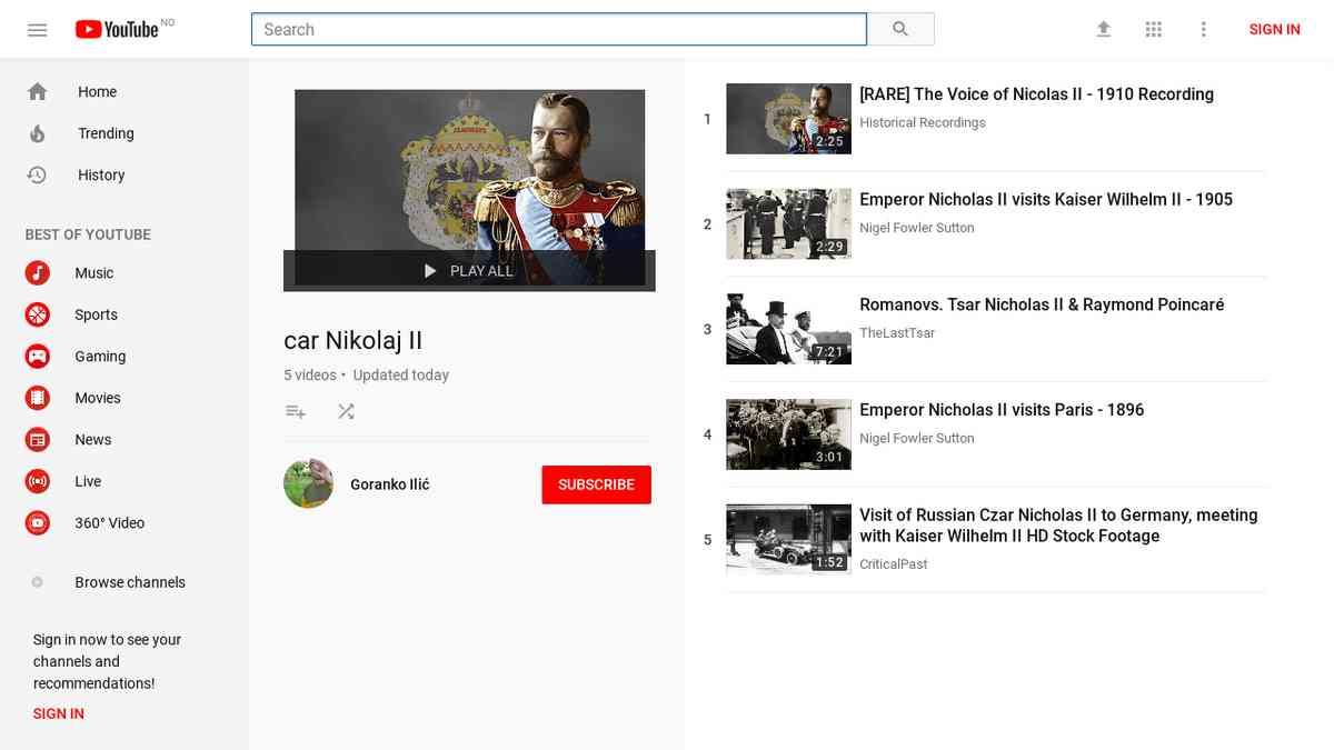 Car Nikolaj II playlist
