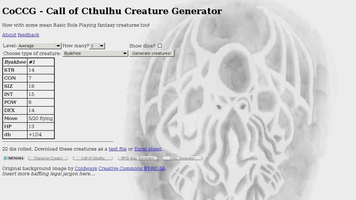 Gen - Cthulhu creature generator
