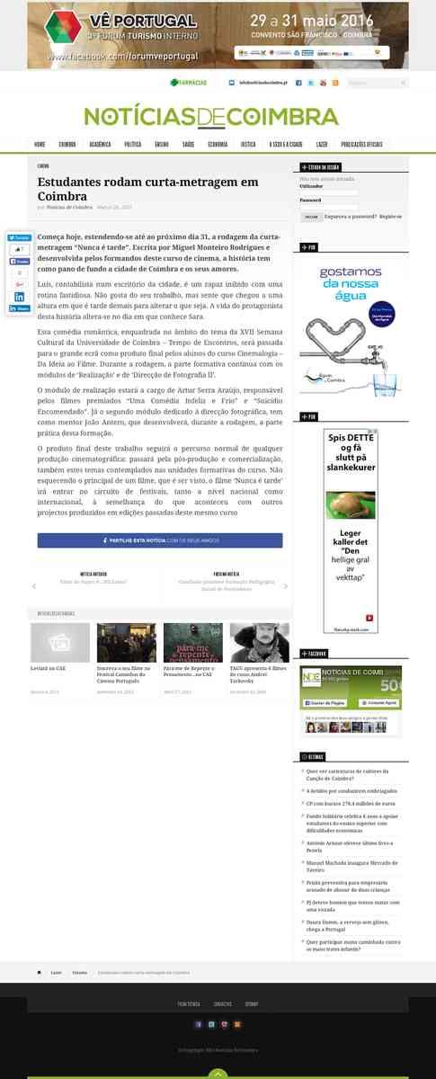 Estudantes rodam curta-metragem em Coimbra | Notícias de Coimbra