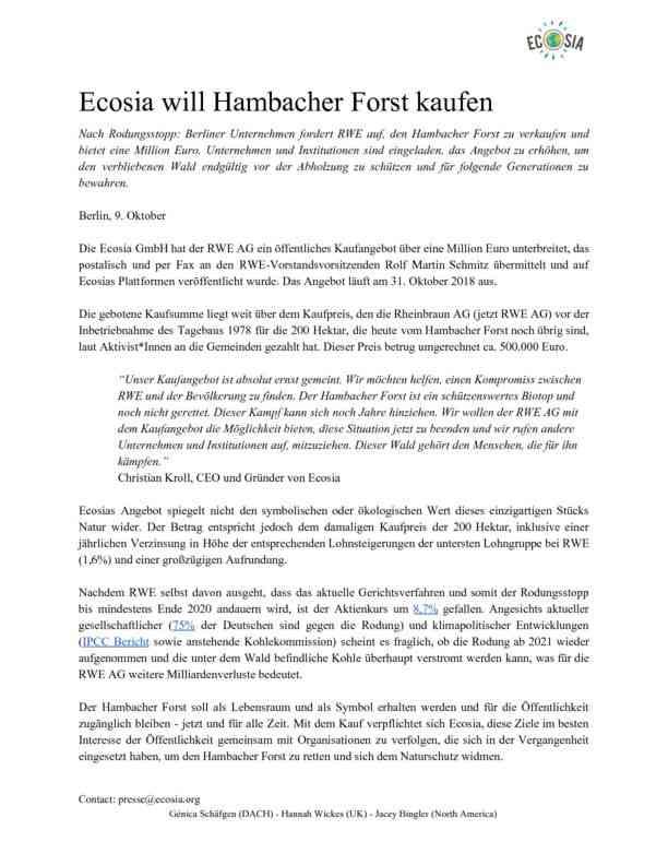 Oktober 2018 Ecosia macht RWE Kaufangebot für Hambacher Forst