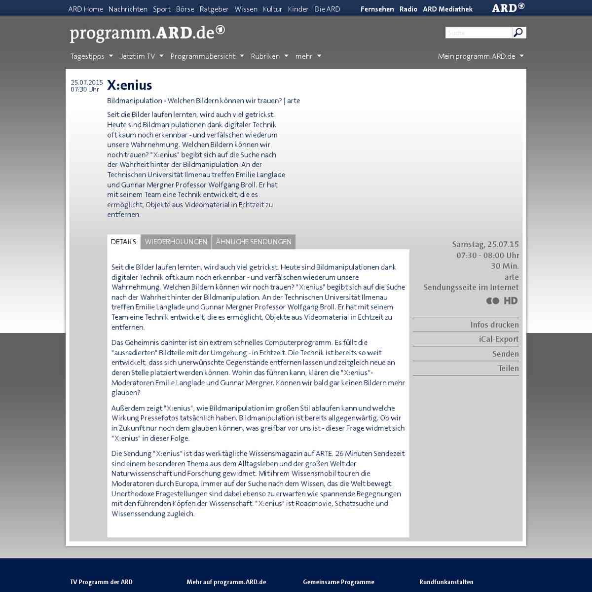 X:enius - arte | programm.ARD.de