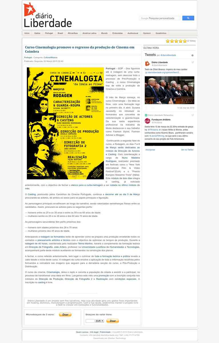 Curso Cinemalogia promove o regresso da produção de Cinema em Coimbra | Diário Liberdade