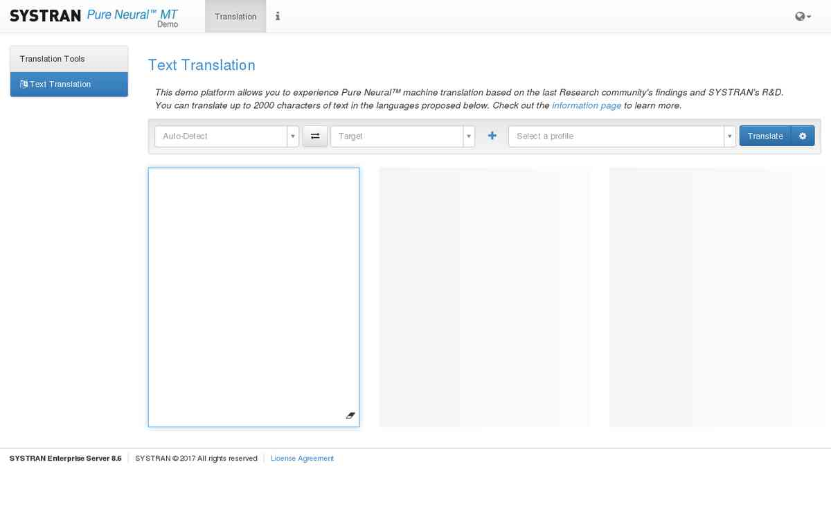 Pure Neural™ Machine Translation demonstrator