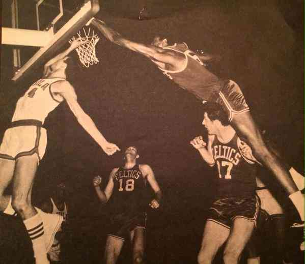 Bill Russell blocking a shot.