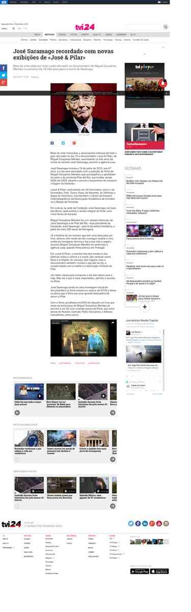José Saramago recordado com novas exibições de «José & Pilar» | TVI24: Cinebox