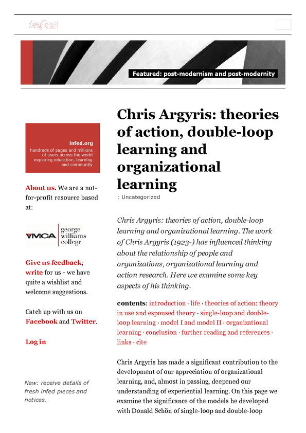 03.2 Chris Argyris- theories of action, double-loop learning and organizational learning