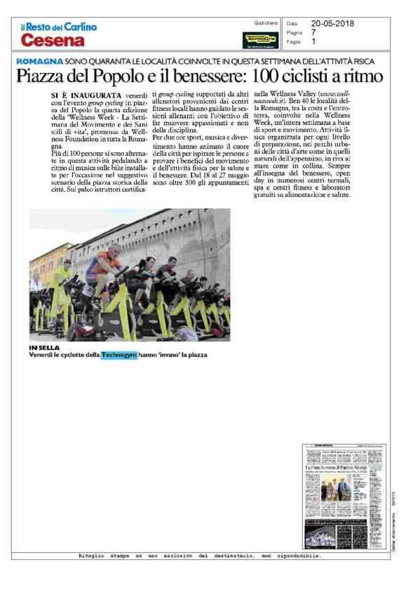 2018-05-20 Restodelcarlino_ Piazza del popolo e benessere, 100 ciclisti a ritmo