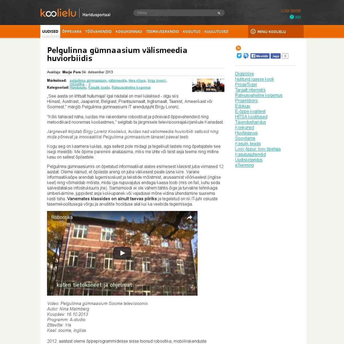 Pelgulinna gümnaasium välismeedia huviorbiidis : Koolielu