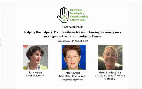 WEBINAR MP4 - Community sector voluntering for EM and community resilience (14 August 2019)