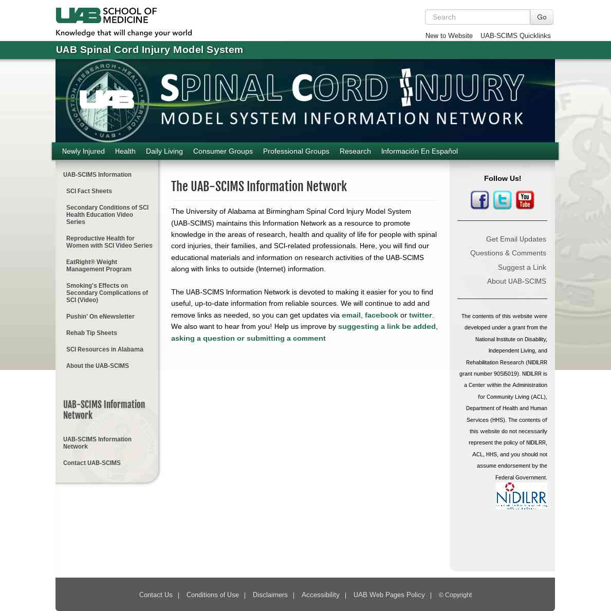 Spinal Cord Injury Information Network