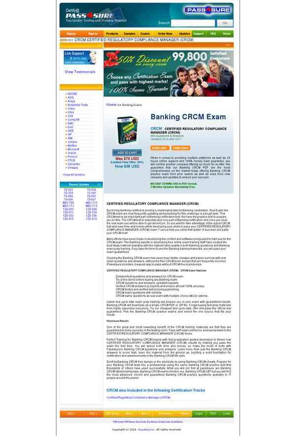 CRCM CERTIFIED REGULATORY COMPLIANCE MANAGER (CRCM) Exam Training ...