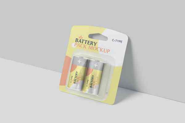 $ C Type Battery Packaging Mockups